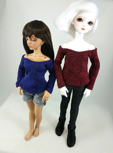 msd cold shoulder sweaters shown on minifee and 1-4 scale bjd dolls