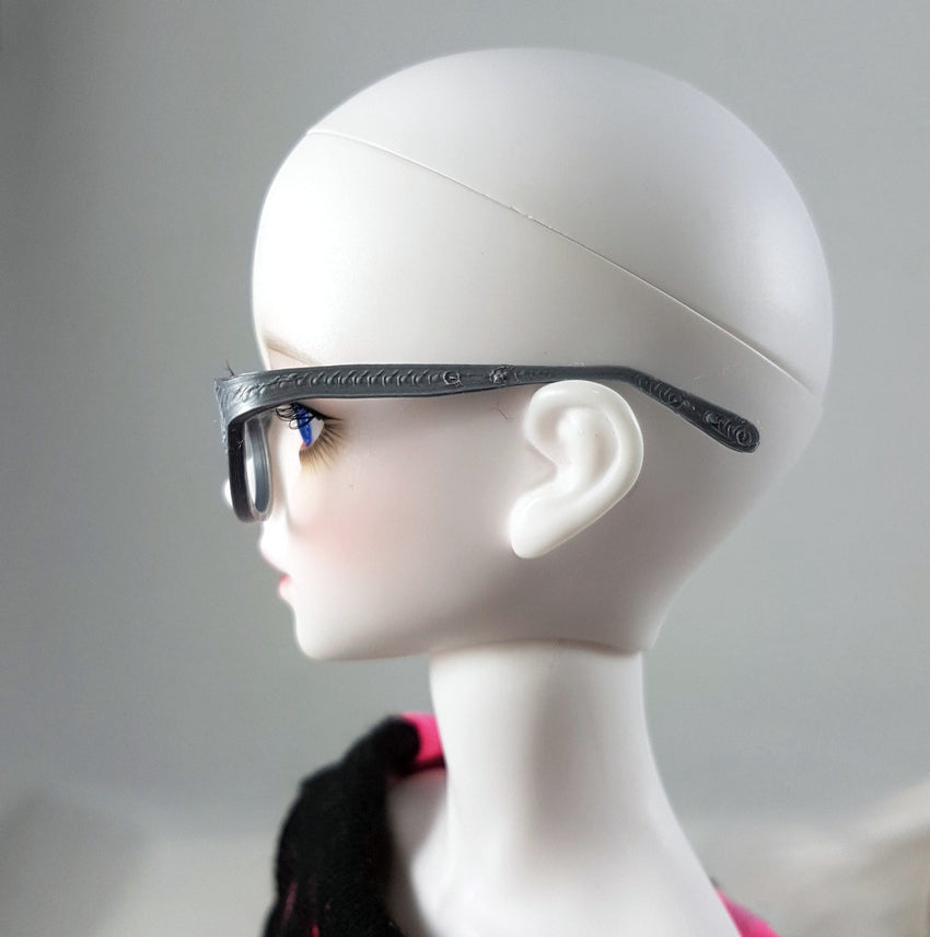 BJD MSD Geek Glasses - Silver