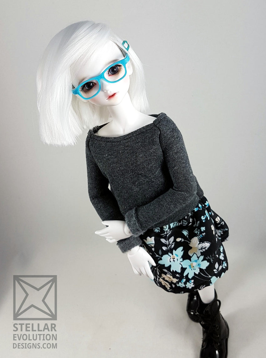 MSD BJD grey and blue sweater dress by stellar evolution designs