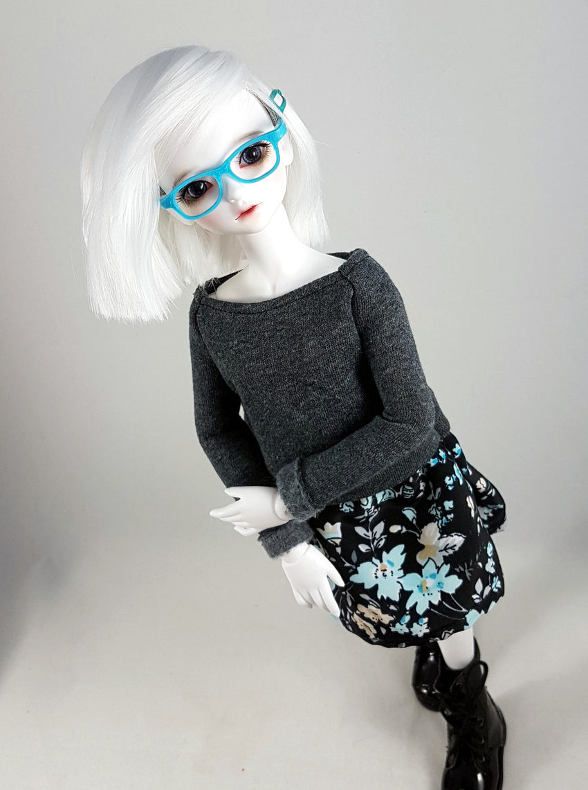 MSD Sweater Dress - Grey with Blue Flowers