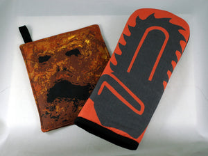 Chainsaw Oven Mitt with Necronomicon Pot Holder
