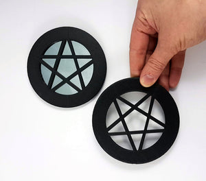 adult hand for scale of pentagram mirrors