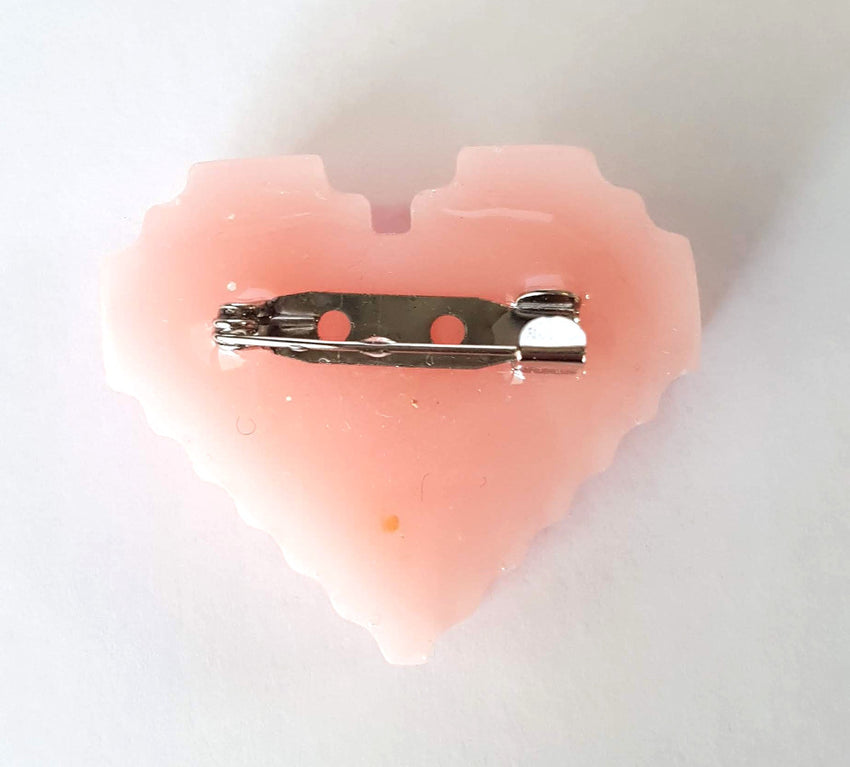 Resin Pixel Heart Pins - Various Styles