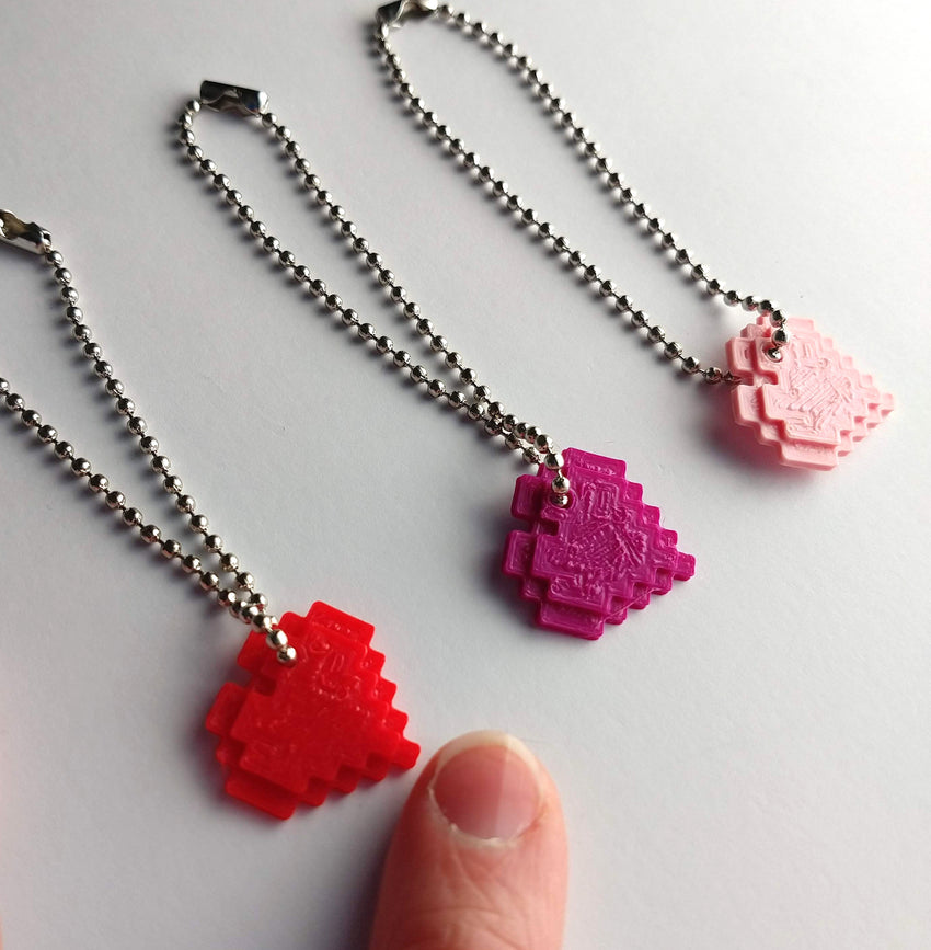 pixel heart necklaces for bjd dolls