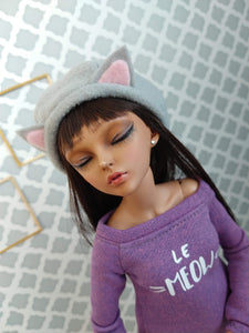 purple le meow set cat hat shirt and leggings for msd dolls