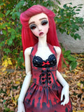 peakswoods rosemii blossom in red cemetery corset and skirt set