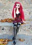 red cemetery corset and skirt set now available for sd bjd
