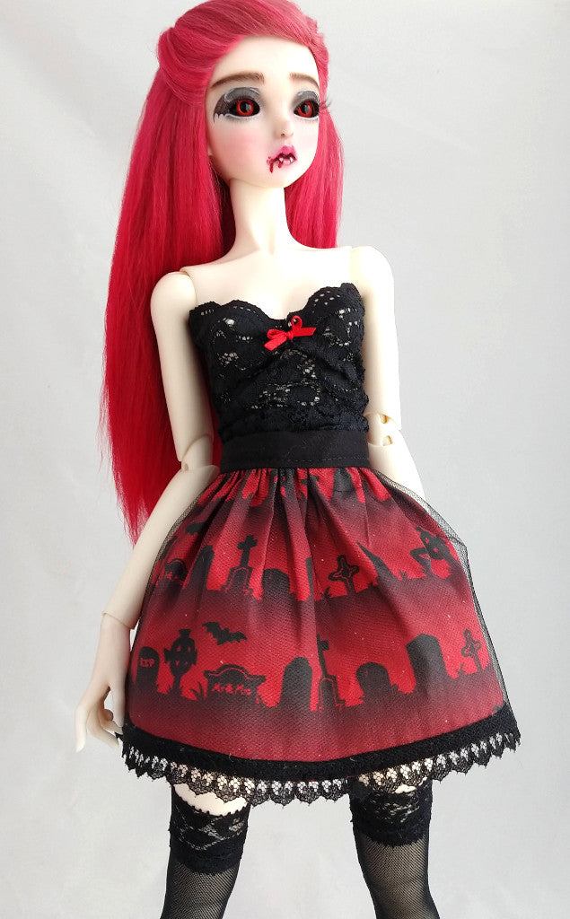 Corset and Skirt set - for Curvy 1:3 SD or 1:4 Resin Vinyl BJD - Red Cemetery