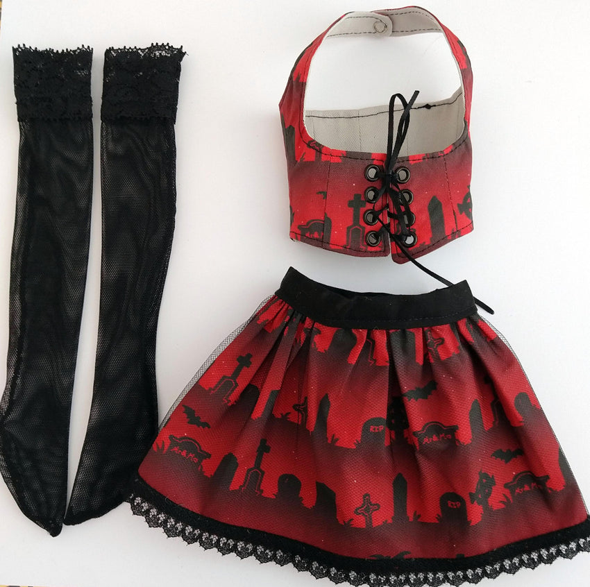 black stockings, red and black corset and red and black cemetery skirt for ball jointed dolls canada