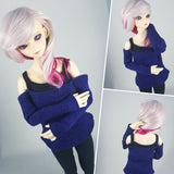 SD bjd off the shoulder sweater for dolls blue