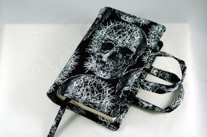 Skull print book bag handmade by Stellar Evolution Designs-gory gifts for horror fans