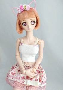 soft kitty top headband and skirt set on dollfie dream doll