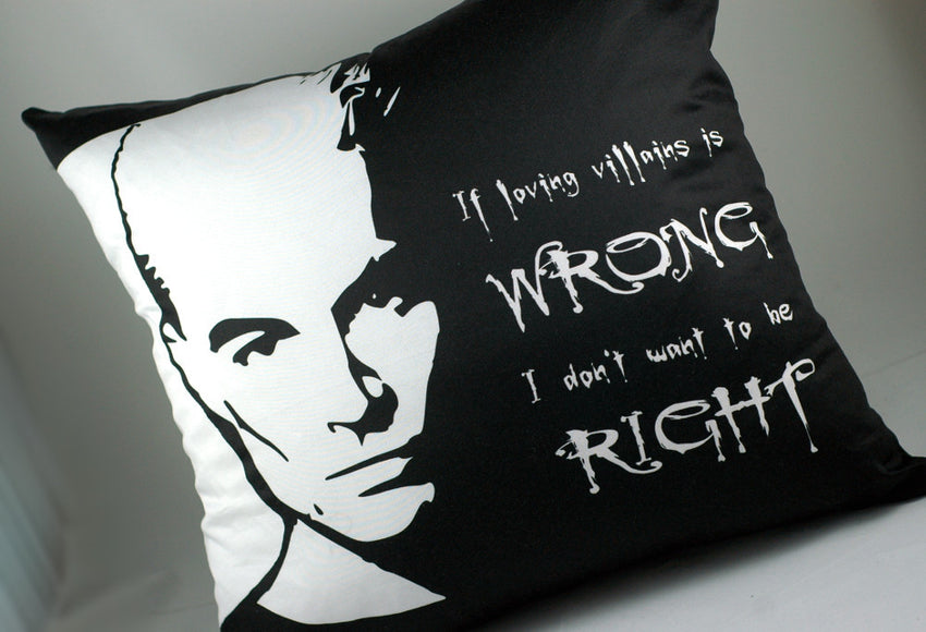 "Spike ""if loving villains is wrong, I don't want to be right"" pillow-Buffy the vampire slayer-handmade geekery"