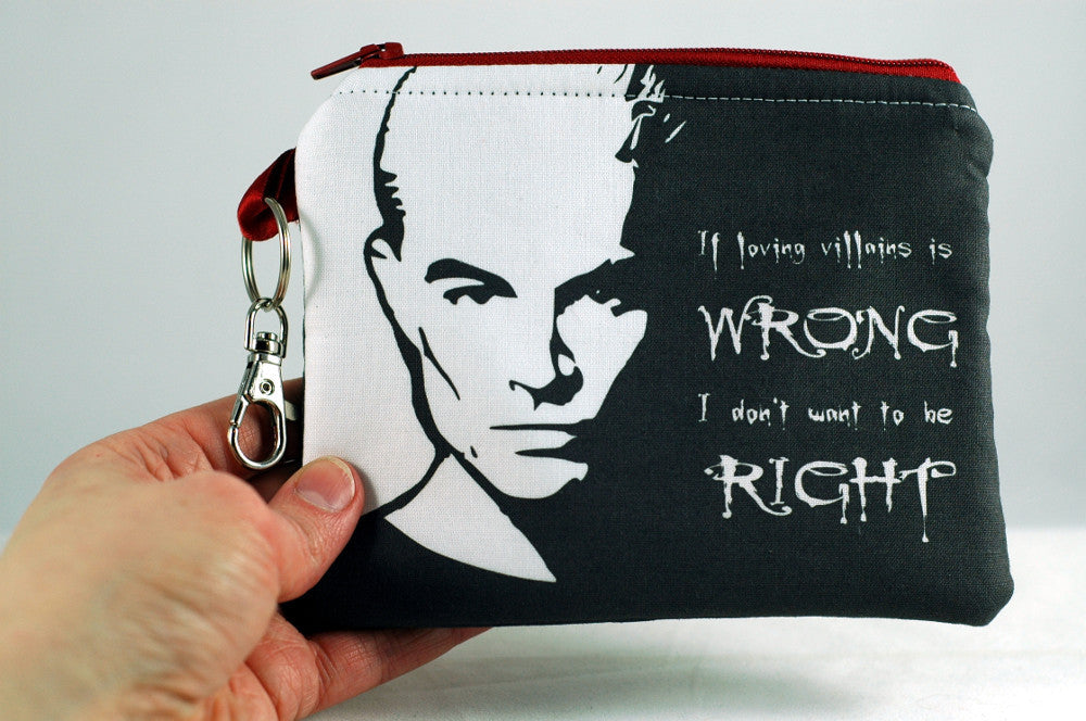 "Spike ""if loving villains is wrong, I don't want to be right"" coin purse-Buffy the vampire slayer-handmade geekery"