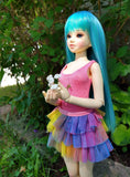 unoa lusis bjd in pink bodysuit and rainbow skirt set