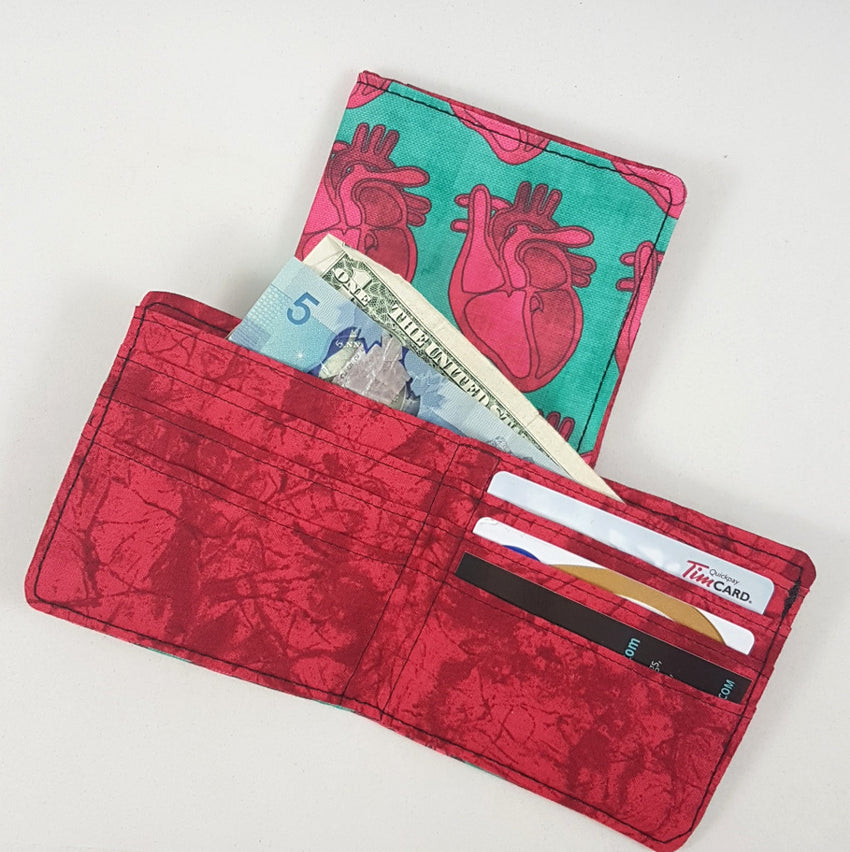 Minimalist Teal with Hearts Wallet
