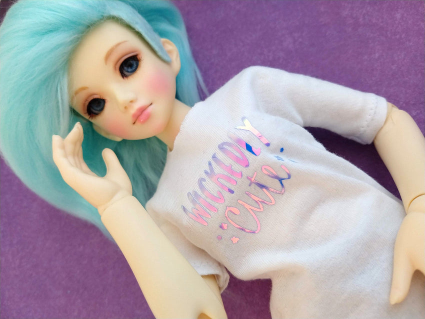 white oversided tshirt for doll made in canada