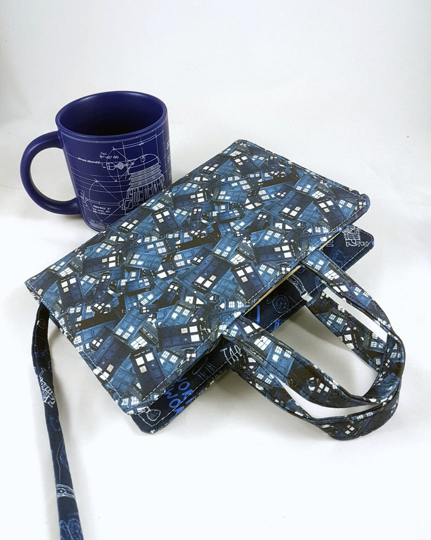 Whovian Blue Box Collage Book Bag