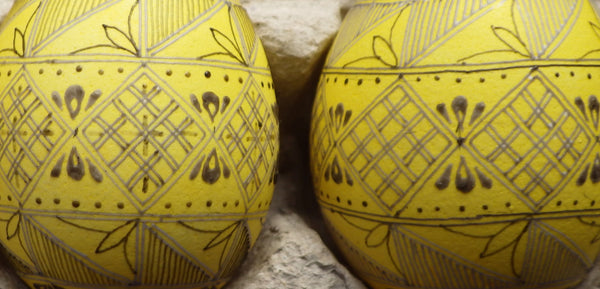 Gail Kozun-Bruckner pysanky waxed and dyed yellow