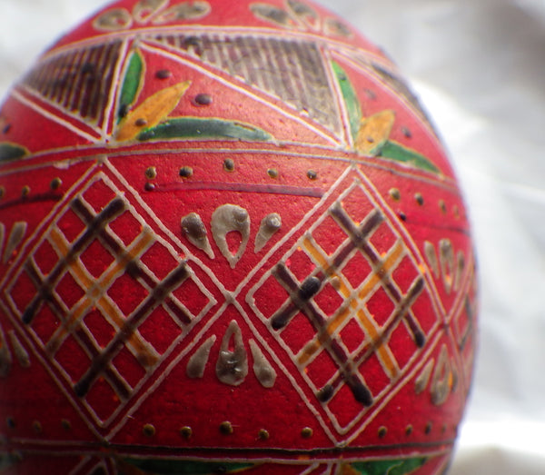 Pysanka waxed and dyed with Kalyna Red - Gail Kozun-Bruckner