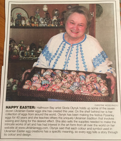 ic: Gloria Olynyk Newspaper interview with her pysanky