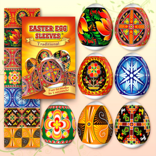 Egg Sleeves - Traditional Designs (Orange)
