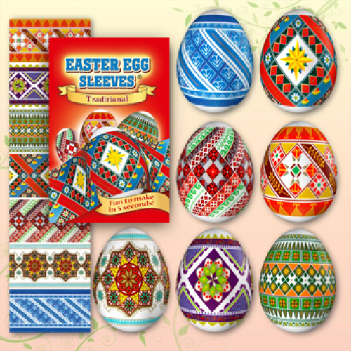 Egg Sleeves - Traditional Designs (red)