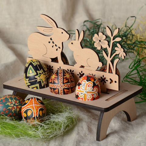 6-Egg Bunny Pysanky Stand - natural wood
