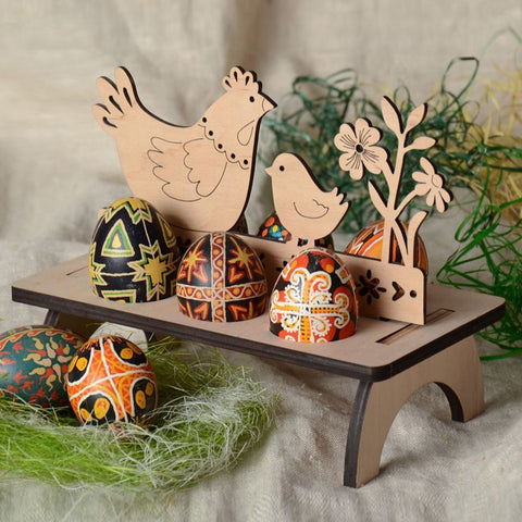 6-Egg Chicken & Chick Pysanky Stand - natural wood