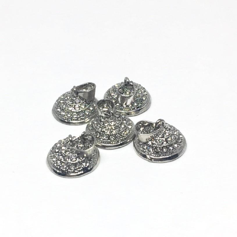 Egg top - Findings for Pysanky - 10 mm - Silver Rhinestone Metal - 5 pcs