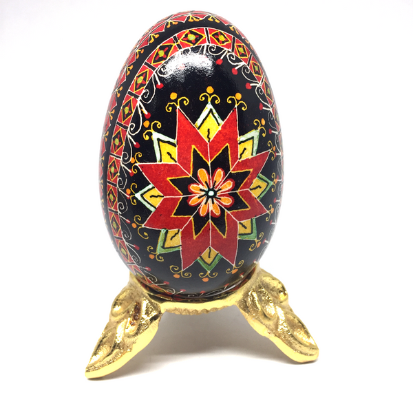 Pysanka Egg Stand - #1 Design Gold plated - Fits a Goose/Duck Egg
