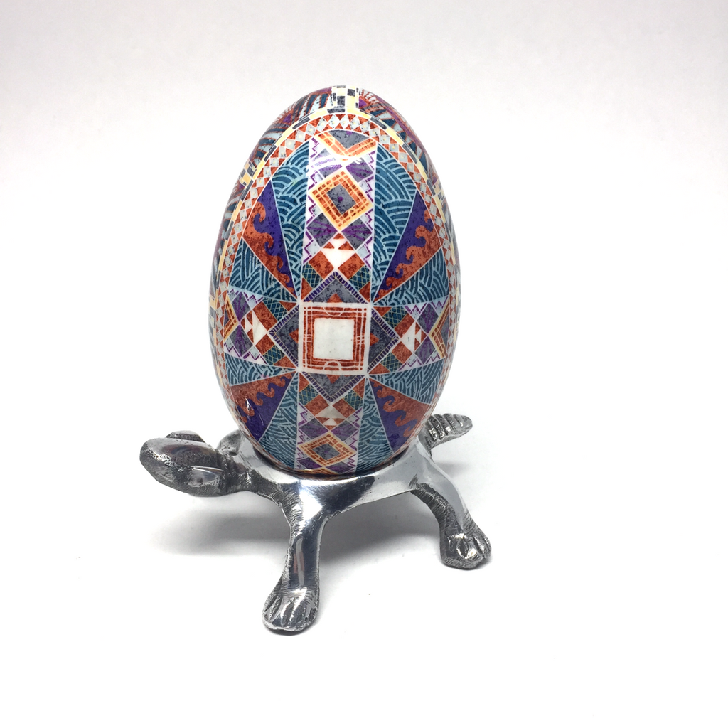 Pysanka Egg Stand - Metal Turtle - Fits Goose Egg