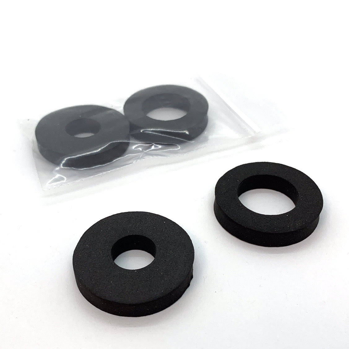 Black foam rubber washers for craft lathe