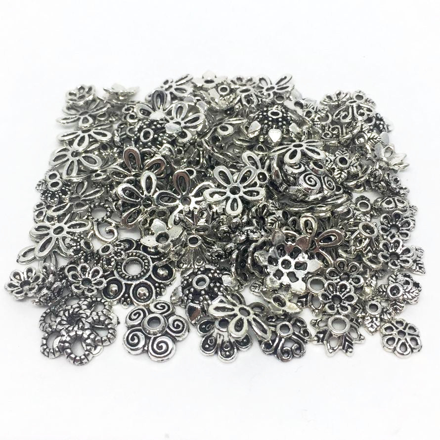 Findings- ASSORTED Egg Findings- Antique Silver 150Pcs