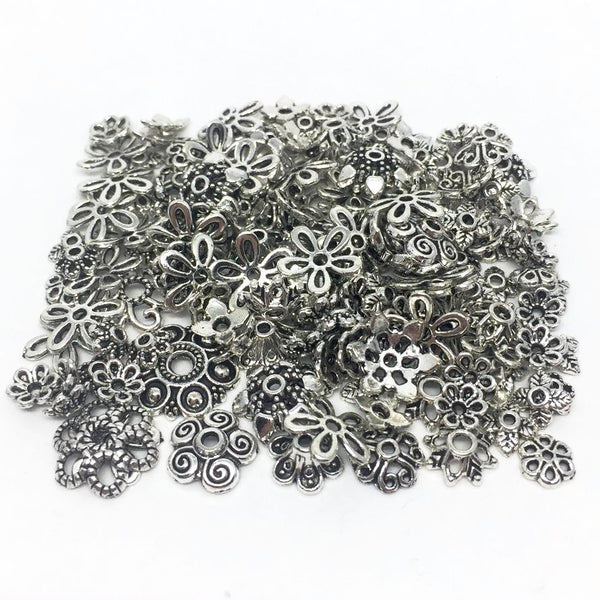 ASSORTED Egg Findings - Antique Silver - 150 pieces
