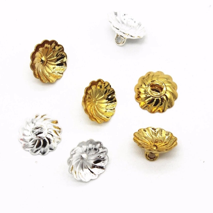 TWIST Egg Top Finding for Pysanky - Silver 10mm (Silver or Gold) - 10 pieces