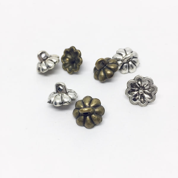 DAISY Egg Top Findings - (Bronze or Silver) - 10mm - 10 pieces