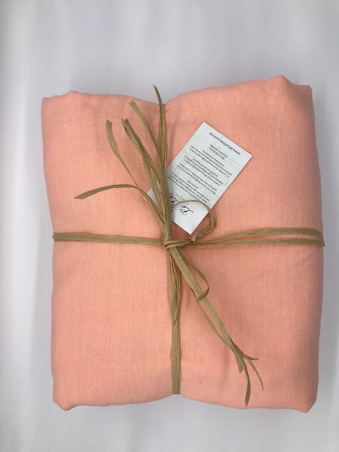Linen Flat & Fitted Sheet - Creamy Peach