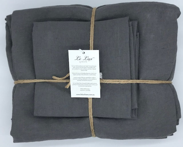 Linen Sheet Set - Charcoal Grey