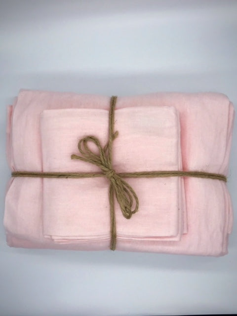 Linen Flat & Fitted Sheet - Rose Pink