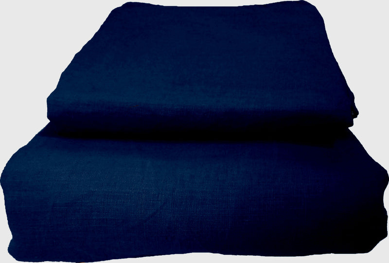Pure Linen Quilt Cover Set - Navy