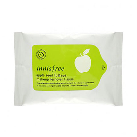 INNISFREE  Apple Seed Lip & Eye Makeup Remover Tissue - 1pack (30pcs)