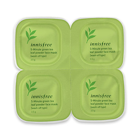 INNISFREE  5 Minute Green Tea Leaf Powder Face Mask (Wash Off Type) - 14g