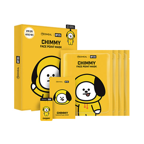 MEDIHEAL / BT21 Face Point Mask - 1pack (4pcs+Postcard+Bookmark)