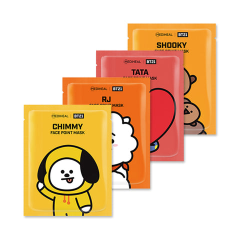 MEDIHEAL  BT21 Face Point Mask - 1pack (4pcs+Postcard+Bookmark)
