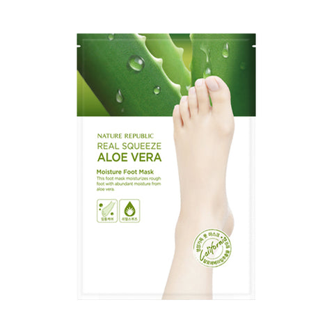 NATURE REPUBLIC  Real Squeeze Aloe Vera Moisture Foot Mask - 1pcs