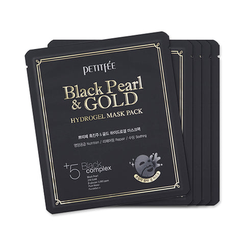 PETITFEE  Hydrogel Mask Pack - 1pack (5pcs) #Black Pearl & Gold