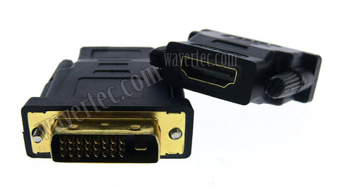 Wavertec 24+1 Pin DVI Male to HDMI Female Adapter Connector Gold Plated - wavertec.com - 1