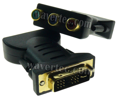 Wavertec 24+5 DVI Male to 3 RCA Female Aadapter Connector DVI-I to AV Phono Converter OEM