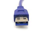 Wavertec 30cm 1Ft Short USB Cable USB Male to Female High Speed USB A 3.0 Extension Cable Round Blue - wavertec.com - 3